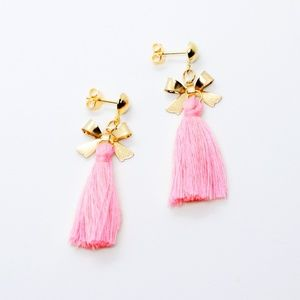 Pink and Gold Boho Chic Bow Charm Fringe Earrings